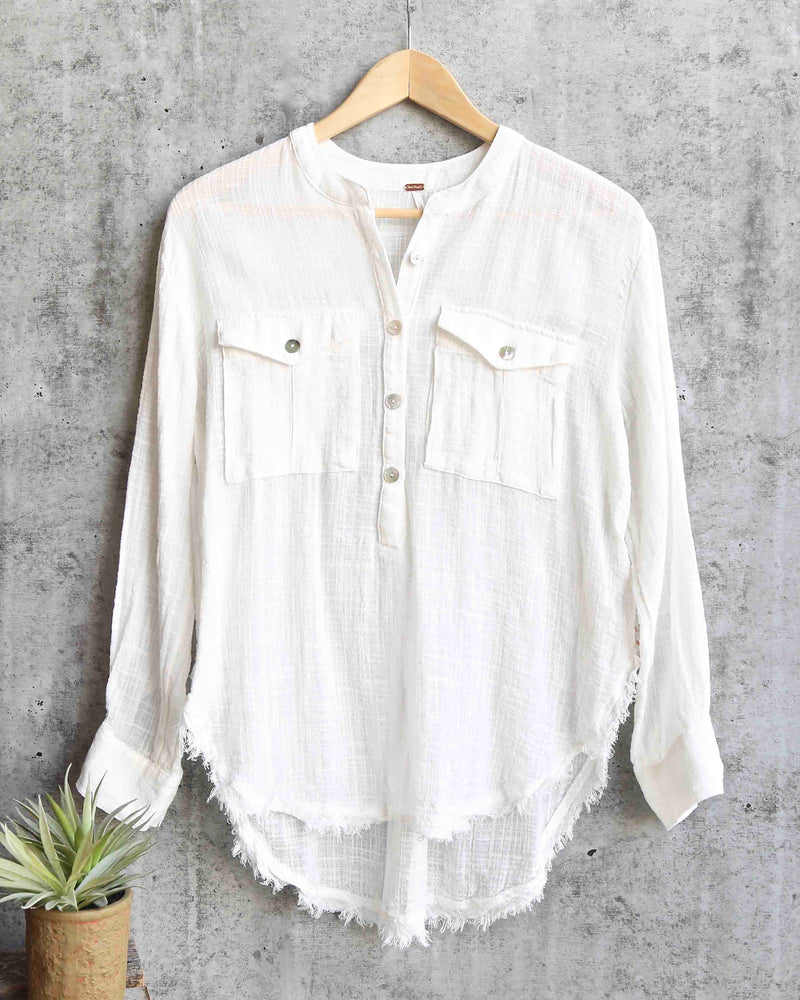 free people - talk to me lightweight gauzy button down - ivory