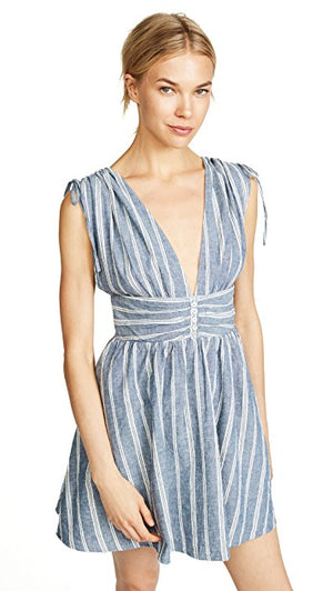 free people - roll the dice striped mini dress - blue
