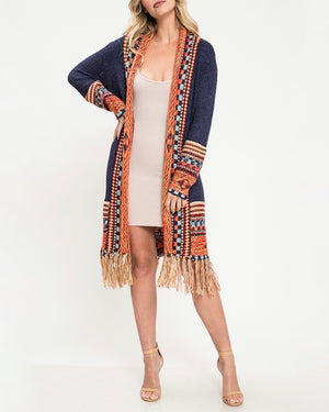 Open Front Fringe Cardigan in Navy