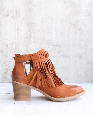 Final Sale - Fringe Cut Out Chunky Heel Booties in Rust