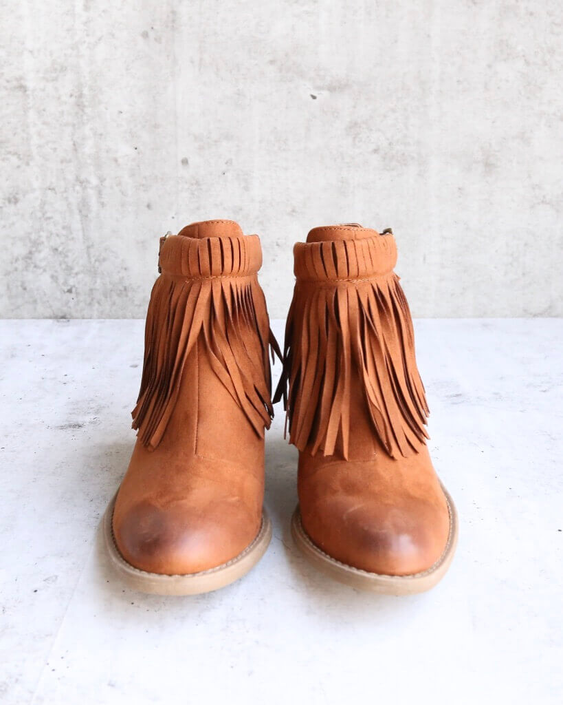 d2cfd640945 final sale - fringe cut-out chunky heel booties - rust