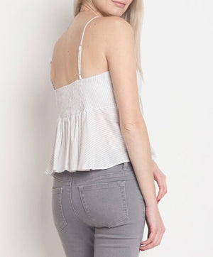 Dreamers - Stripe Tie-Front Tank Top in White