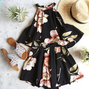 dance all night floral halter romper - black