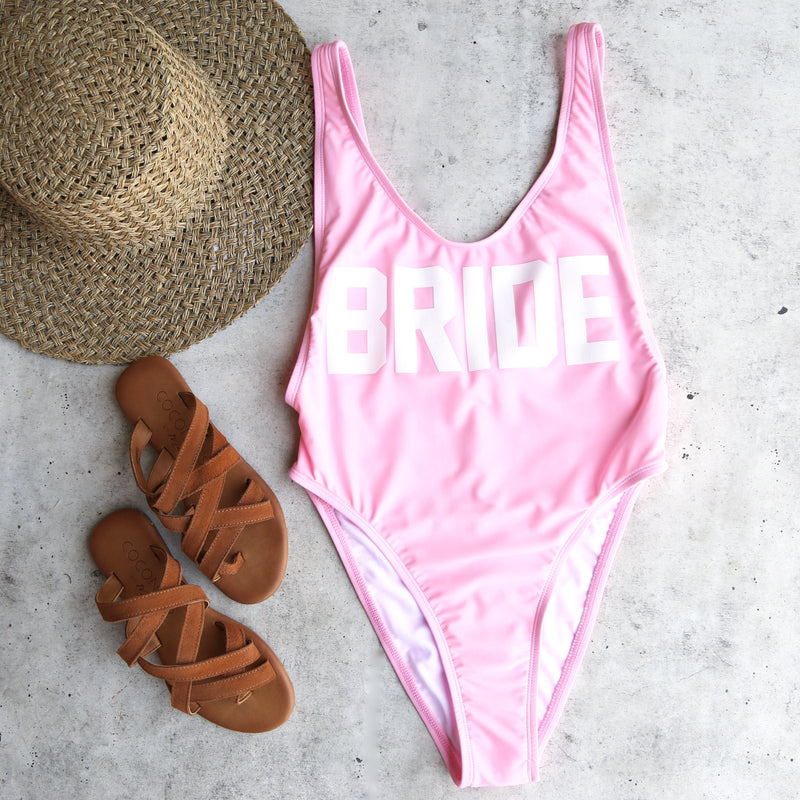 GRL GNG Collection - Bride High Cut Vintage One Piece in Bright Baby Pink