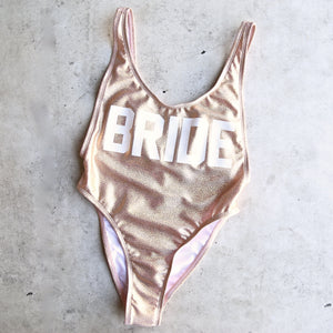 GRL GNG Collection - Bride High Cut Vintage One Piece in Glittery Rose Gold