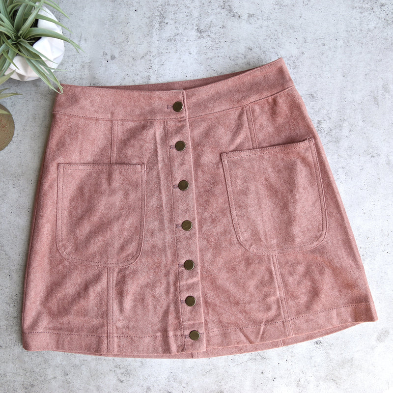Final Sale - Cotton Candy LA - High Standards Suede Skirt in Mauve/Dusty Pink