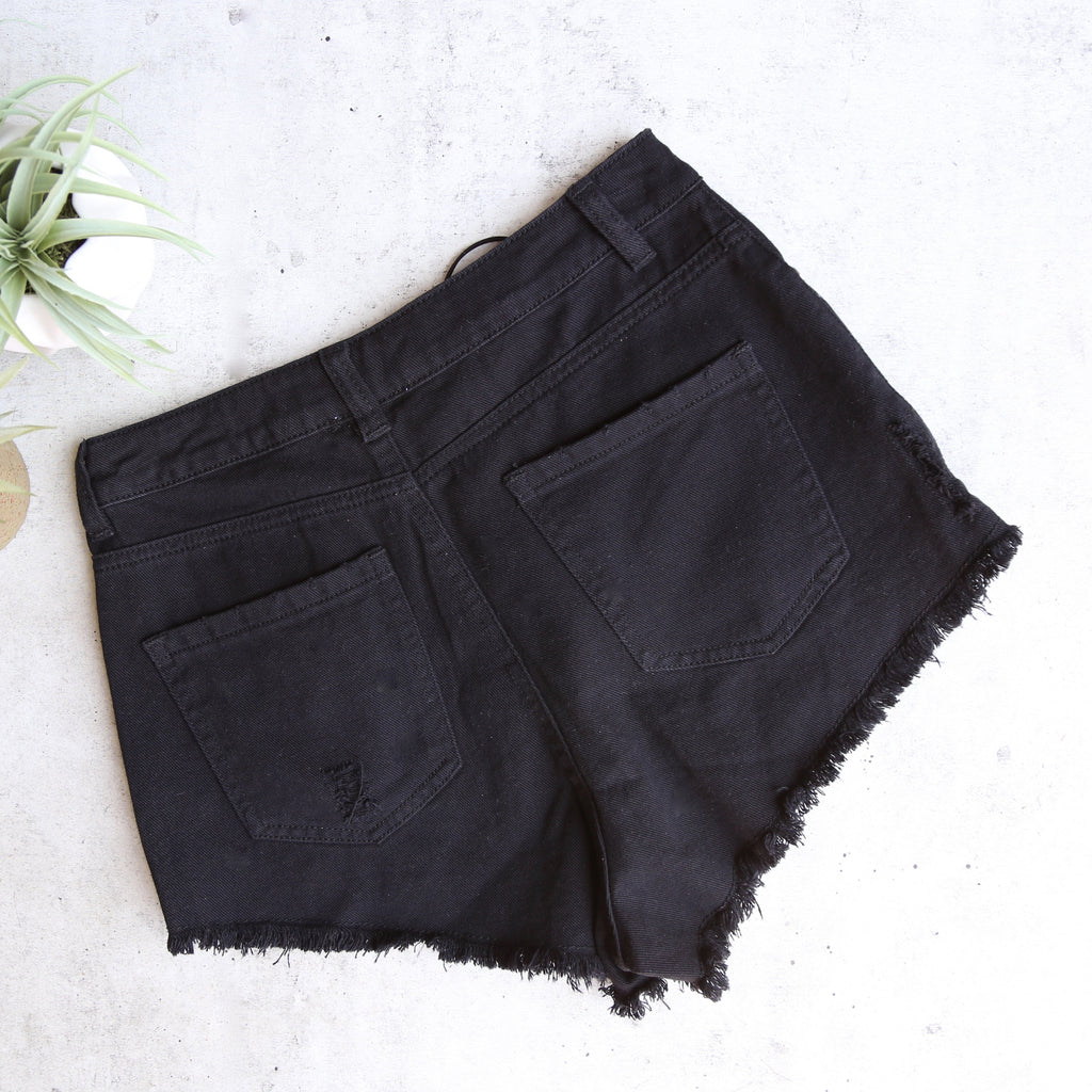 clique lace-up denim shorts - black