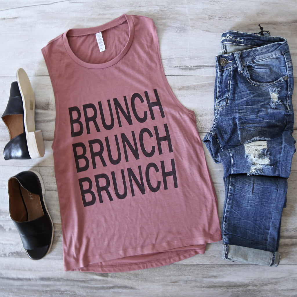 Distracted - Brunch Lady Sleeveless Muscle Tank in Mauve