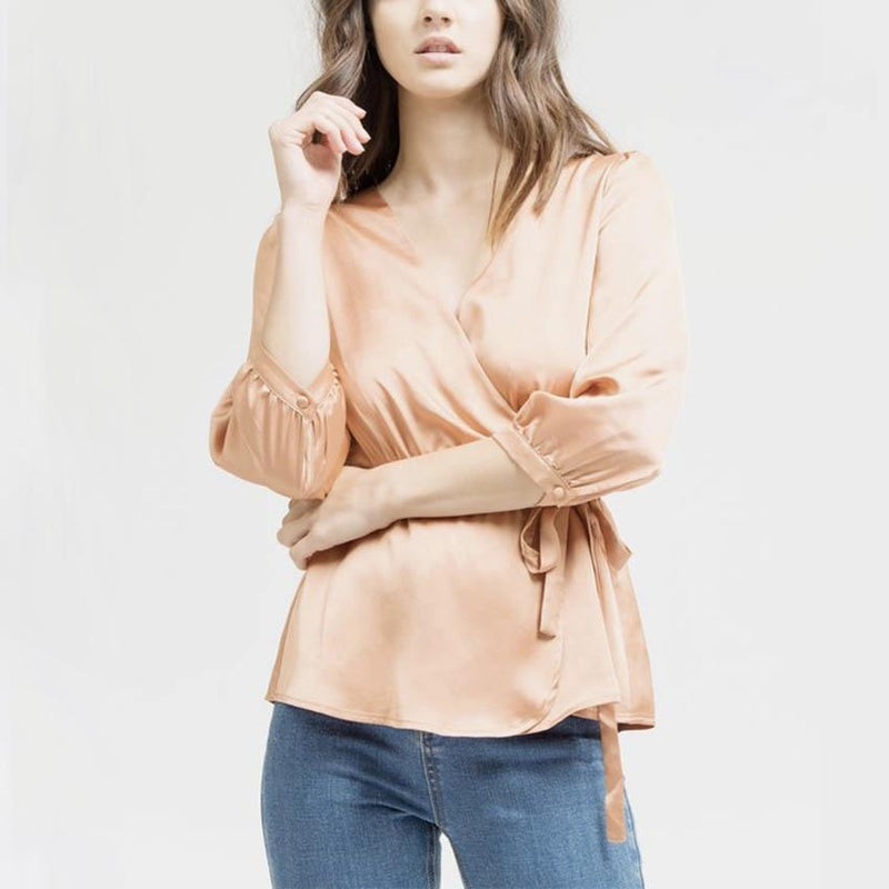 satin dream top - dark salmon