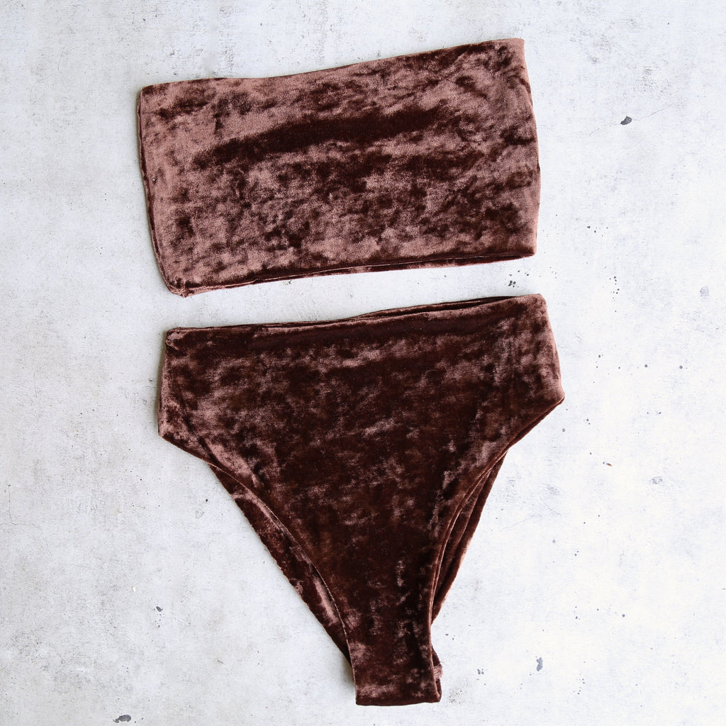 Reverse - Obscura Velvet High Waisted Bandeau Bikini Set in More Colors