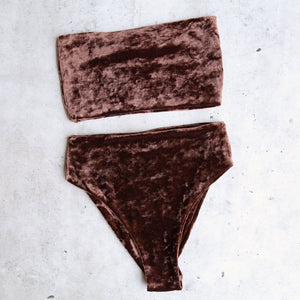 reverse - obscura velvet high waisted bandeau bikini set - more colors