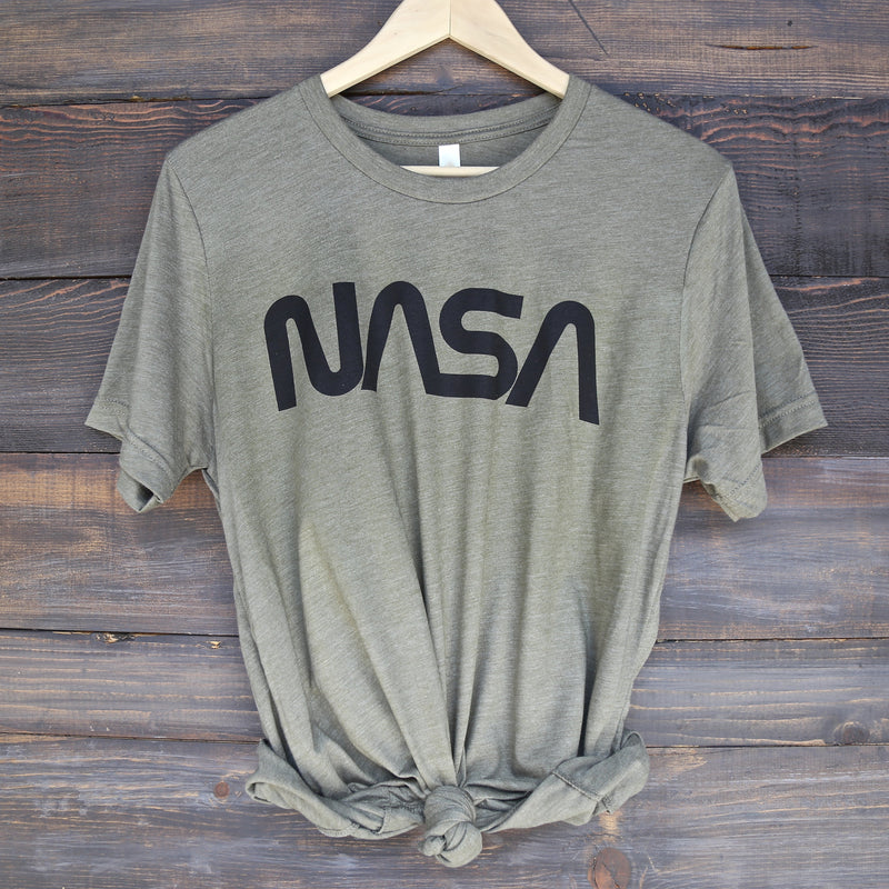 Distracted - Vintage/Retro NASA Worm Logo Unisex Graphic Tee in Olive/Black