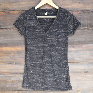the go-to jersey short sleeve deep v-neck tee - black marble
