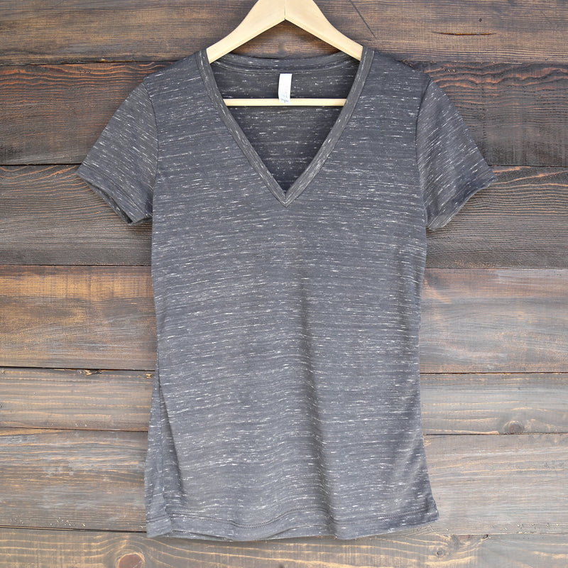 The Go-To Jersey Short Sleeve Deep V-Neck Tee in Charcoal Marble