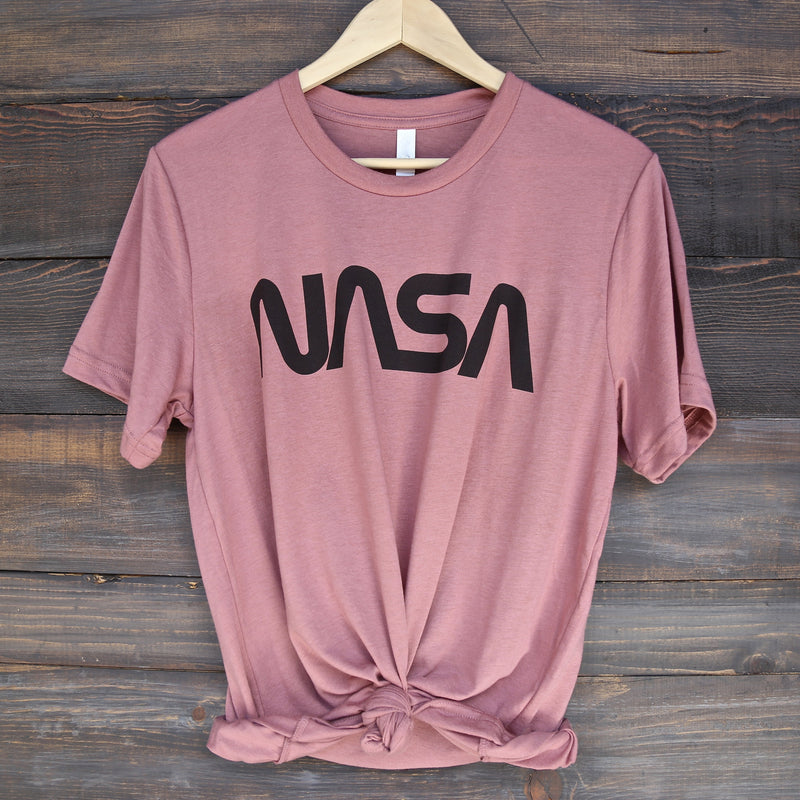 Distracted - Vintage/Retro NASA Worm Logo Unisex Tee in Mauve/Black
