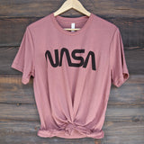 distracted - vintage/retro nasa worm logo unisex tee - mauve/black