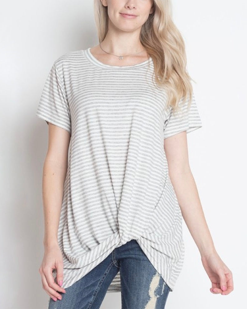 Dreamers - Knot Your Babe Stripe T-Shirt in Heather Grey