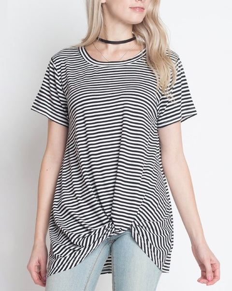 dreamers - knot your babe - stripe tshirt - black