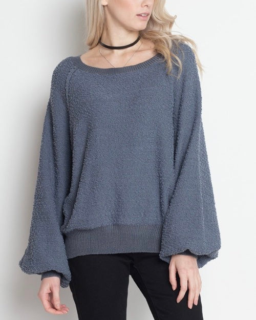 Dreamers - Pullover Sweater with Balloon Sleeves in Blue