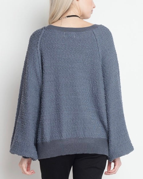 dreamers - pullover sweater with balloon sleeves - blue