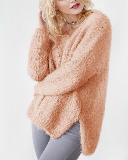 dreamers - popcorn yarn fuzzy v-neck pullover - more colors