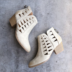 'Alesso' chunky stacked heel cut out bootie - stone - shophearts