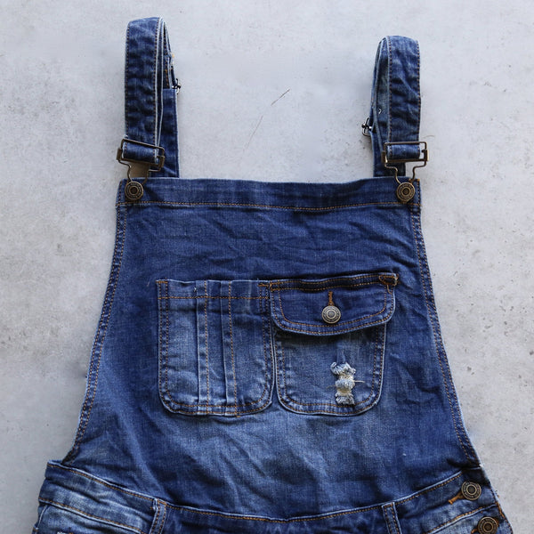 distressed denim overall short - medium wash