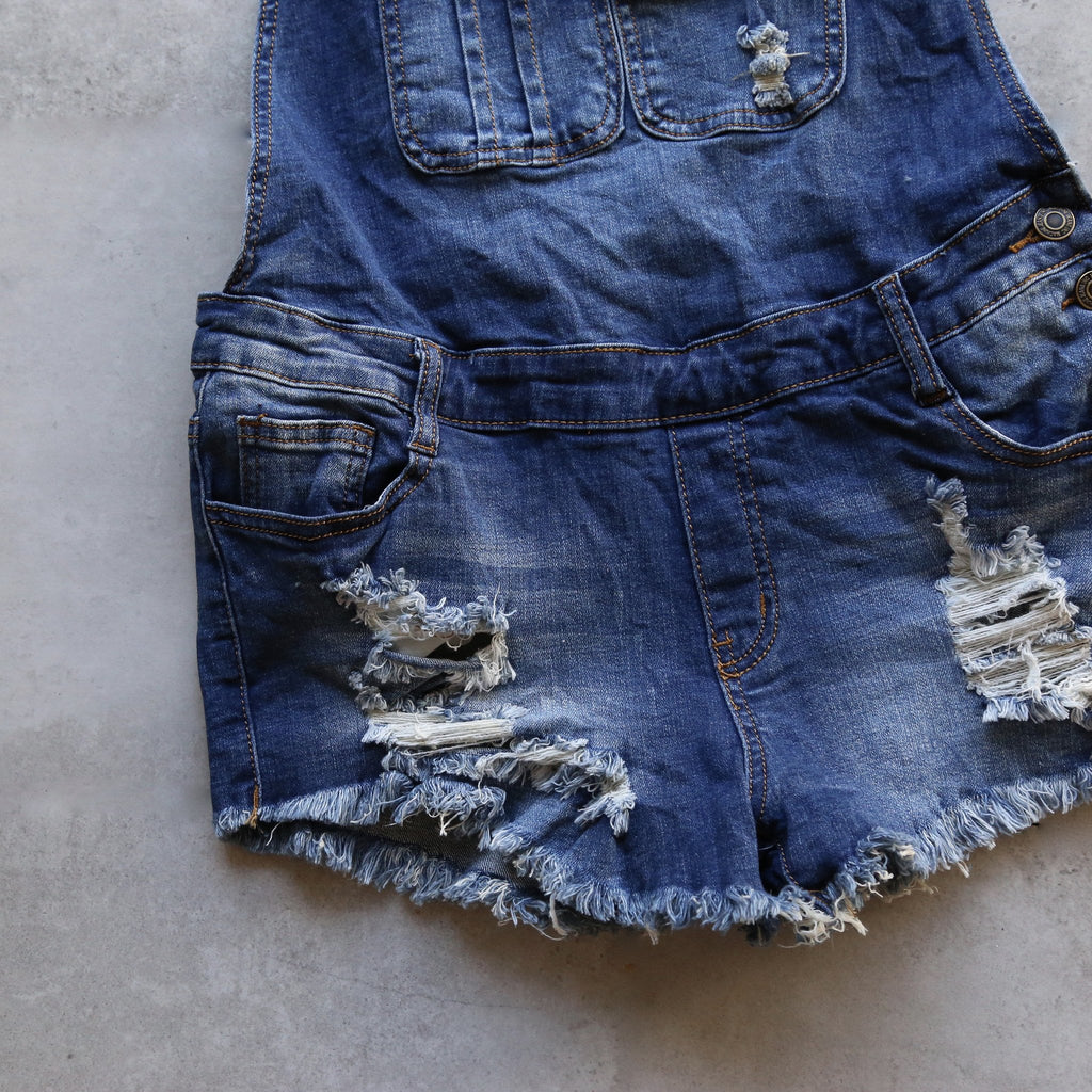 Final Sale - Distressed Denim Overall Shorts in Medium Wash
