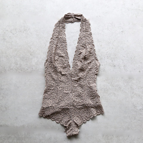 scalloped floral lace bodysuit