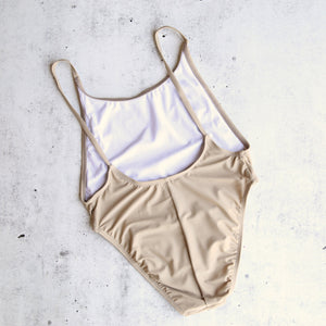 Take a Dip High Cut One Piece Swimsuit in Taupe