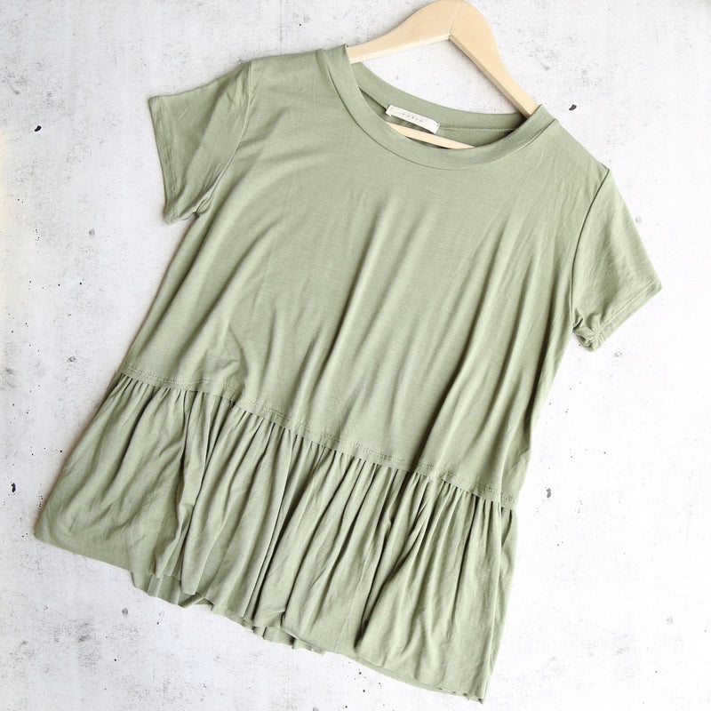 On the road peplum tee - dusty olive