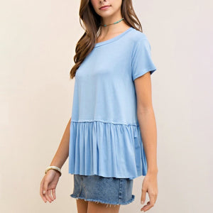 On the road peplum tee - light denim