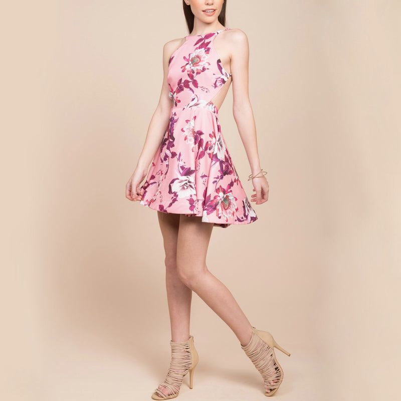 Floral Fit + Flare Open Back Dress in Pink Floral Dreams