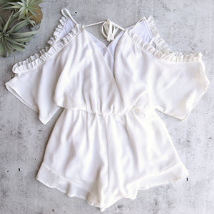 Peek-a-Boo Romper with Floral Applique and Ruffle Hem - More Colors