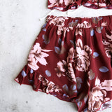 reverse - burgundy floral two piece set with ruffle hem