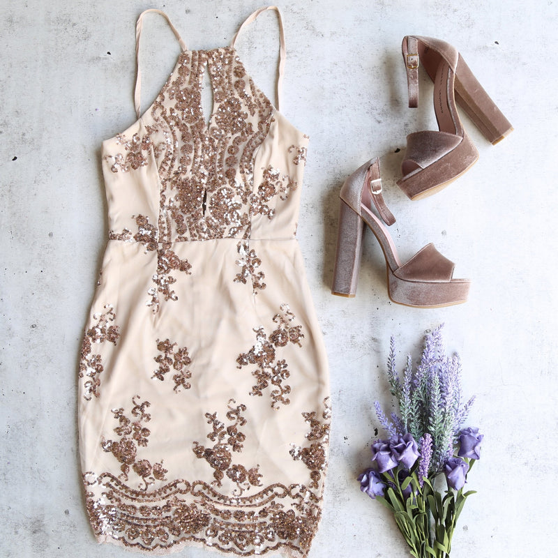 life of the party rose gold sequin bodycon dress