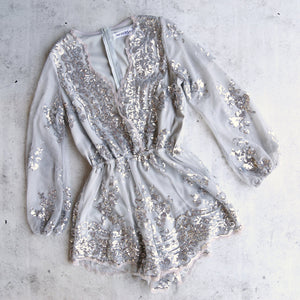 reverse - life of the party sequin romper silver