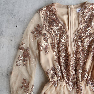reverse - life of the party sequin romper rosegold gold