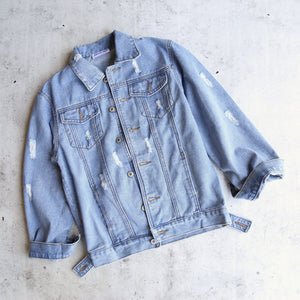 distressed denim trucker jacket