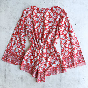 Reverse - Lola Romper in Red/Floral