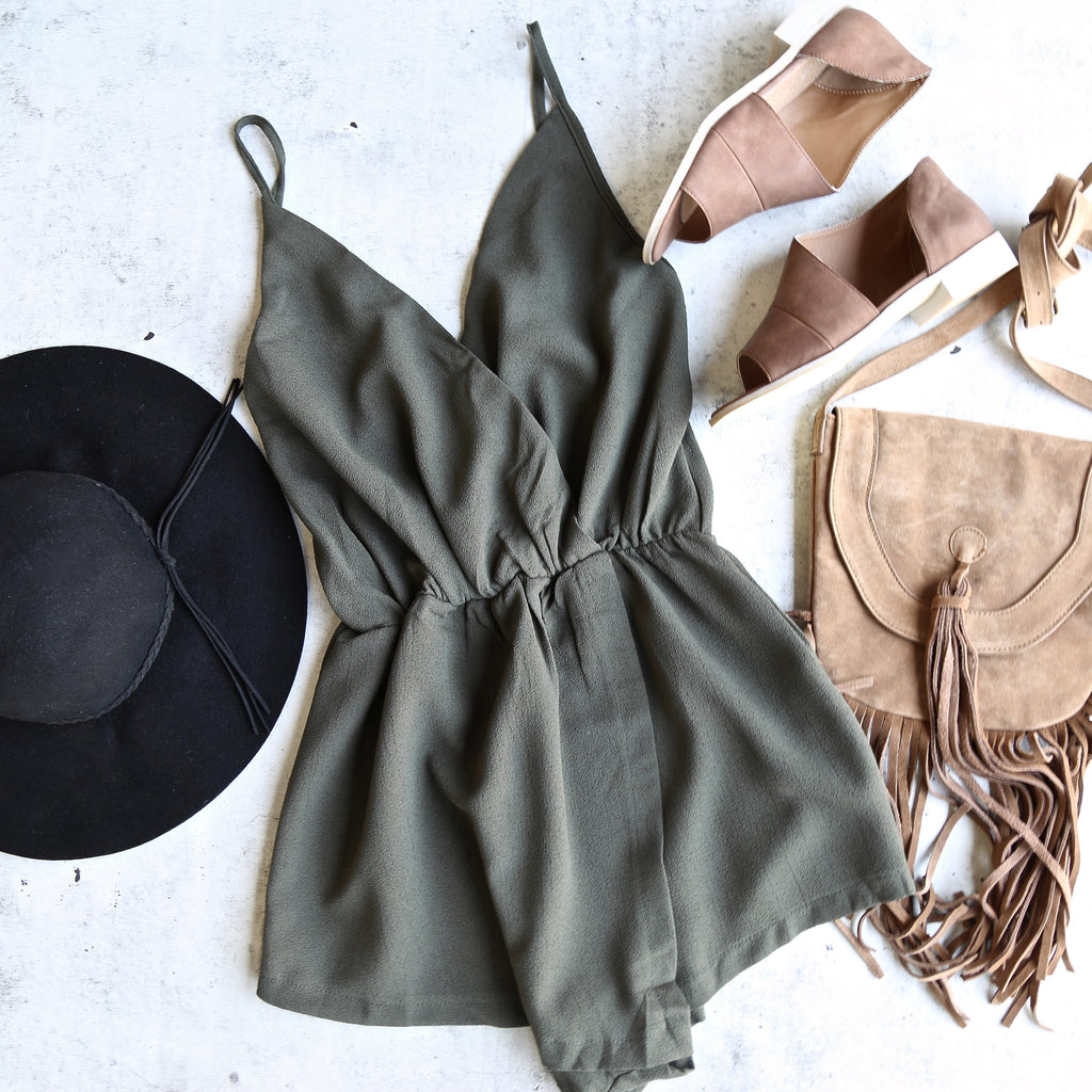 Reverse - Don't Get It Twisted Romper in Olive Green