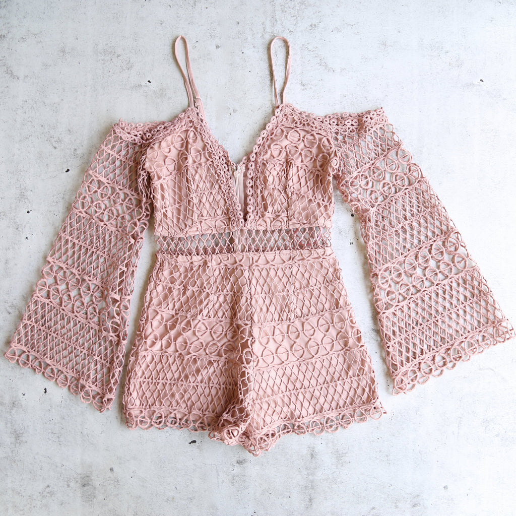 Final Sale - Bold Crochet Overlay Romper - More Colors