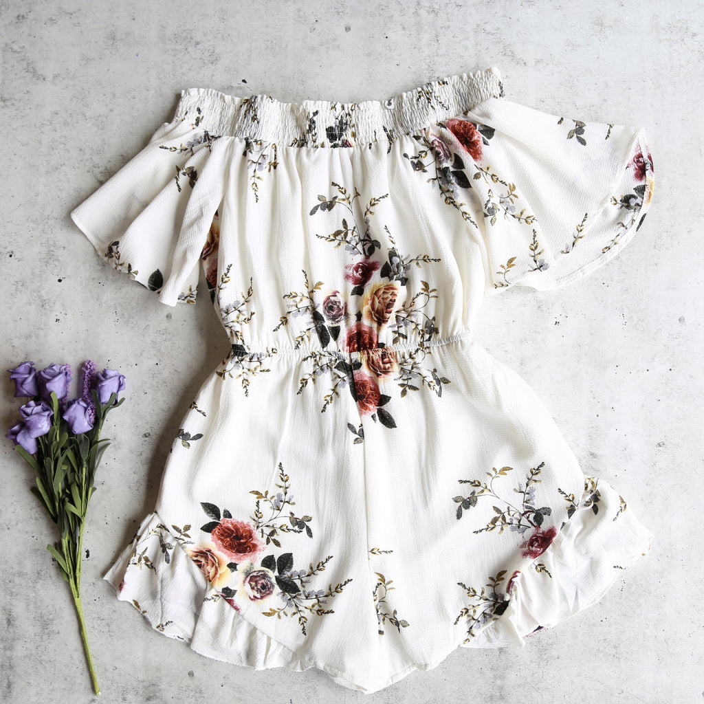 Running Late Off the Shoulder Floral Romper