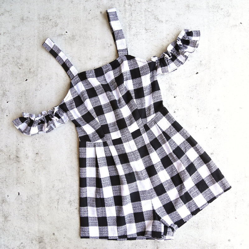 gingham romper with off the shoulder frills