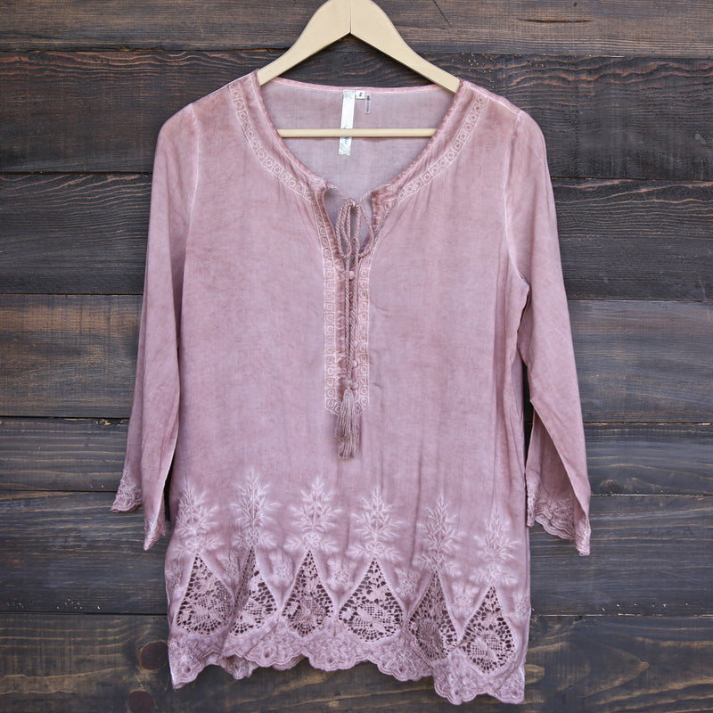Cute Washed Peasant Top in Dusty Pink