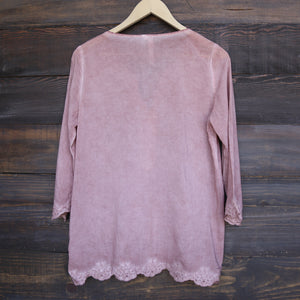 Final Sale - Cute Washed Peasant Top in Dusty Pink