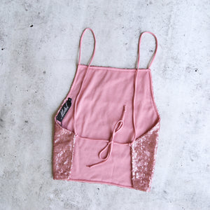 Motel - Backless Mini Sequin Top in Sugar Pink