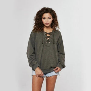 project social t - abby lace-up hoodie - army green