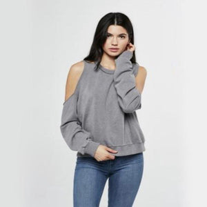 project social t - saguaro cold-shoulder sweatshirt - blue slate