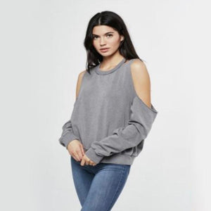 Project Social T - Saguaro Cold Shoulder Sweater in Slate Blue